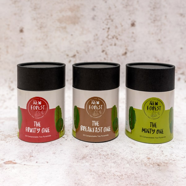The oak gift set 3 canisters of New Forest Tea Company teas